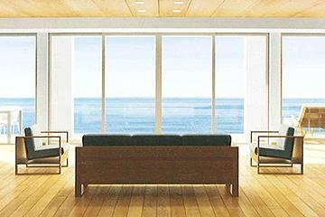 大きな窓、開放的な空間を実現